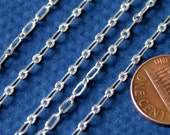 3 ft SAMPLE chain of Silver plated long and short chain 4X2mm - Soldered LInks