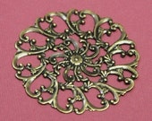 Wholesale  100 pcs of High quality antiqued brass filigree focal 58mm