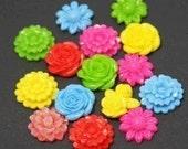 Sale  - 18 pcs of Assorted color/design acrylic flower Cabochons 20-23mm