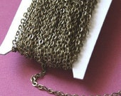 100 ft spool of antiqued brass flat cable chain 3X3mm