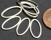 50 pcs of Silver plated brass oval links 16X8X1mm