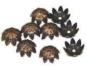 50 pcs of Antiqued copper finished leaf bead cap 12mm