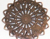 Best Deal Ever --- 20pcs of Antiqued copper over iron filigree focal 35mm