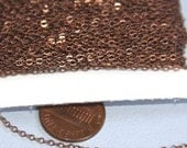 Sample Chain 3ft of Antiqued Copper Tiny Flat Soldered Cable Chain 2mm
