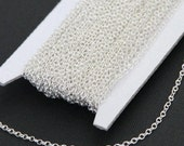 100 ft spool of Silver plated Brass round cable chain 2X2.5mm, silver chain bulk, brass chain bulk