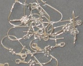 50 pcs of silver plated kidney earwire - flower with loop 20X8mm
