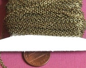 10 ft of Antiqued Brass Tiny Flat Soldered Cable Chain 2mm