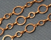 Best deal Ever --- 5 ft of antiqued red copper plated brass Circle links chain 6mm and 10mm