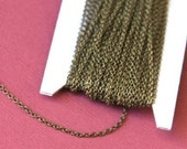 Sample chain 3ft of Antiqued Brass round cable chain 1.5mm