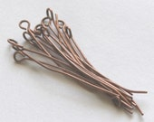 250 pcs of Antiqued copper Eye Pin - 2  inch long - 22 gauge