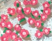 32 pcs of polyclay flower mauve beads  9X6mm