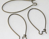 50 pcs of Antiqued brass Large Kidney earwire 44X20mm