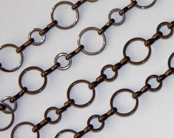 20 ft of Antiqued copper plated brass circle links chain 6mm-10mm
