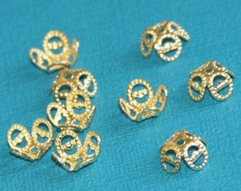 100 pcs of Gold plated over brass filigree beads cap 9mm