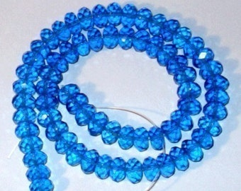 8 inch Strand of London Blue Quartz Faceted Rondelle 5x8mm