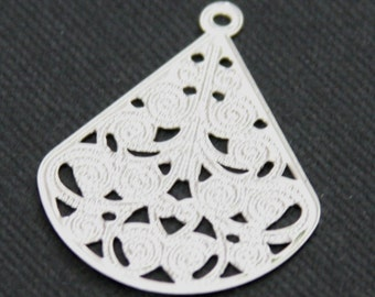 10 pcs of Silver plated filigree teardrop finding 30x23mm