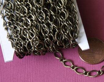 32ft spool of Antiqued Brass high quality hammered soldered chain 5X8mm