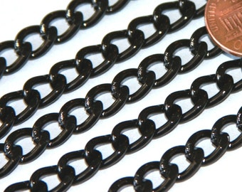 25 ft of Aluminum Curb open link chain  7X10mm - Black color