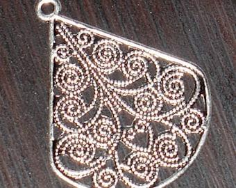 10 pcs of antiqued silver-plated brass filigree teardrop 30x23mm