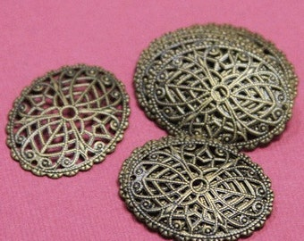 120 pcs of antiqued  brass  filigree oval 29x23mm