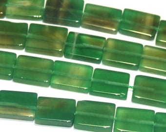 16 inch strand of Green Agate rectangle beads 15X20mm