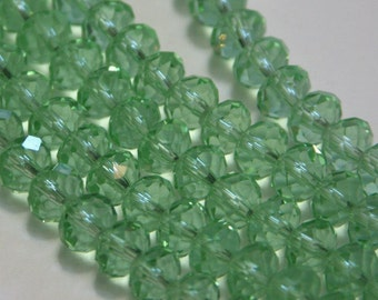 15 inch Strand Light Green glass faceted rondelle beads 5X8mm