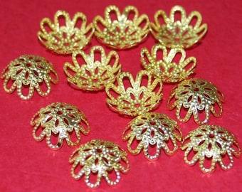 30 pcs of gold plated filigree beads cap 14mm