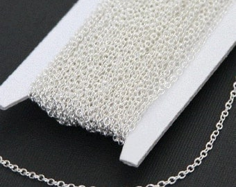 32 ft spool of Silver plated Brass round cable chain 2X1.5mm