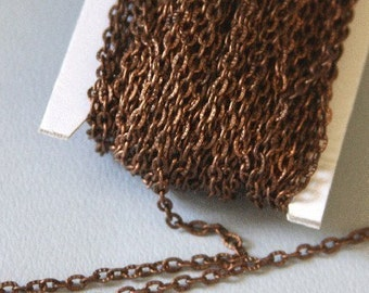 15 ft of Antiqued copper finished texture cable chain 2X3mm - unsoldered