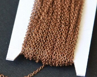 10 ft of Antiqued copper plated round cable chain 2X1.5mm