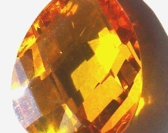 1 pc of Cubic Zirconia Faceted Flat Briolette gold Pendant  16X25mm