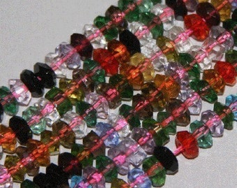 13 inch strand of multi color glass rondelle beads 5X3mm