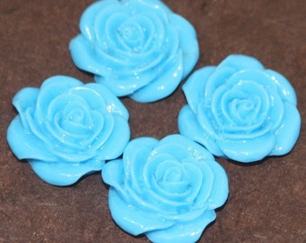 10 pcs of Acrylic  flower Cabochons - Turquoise Blue -- 22X21mm