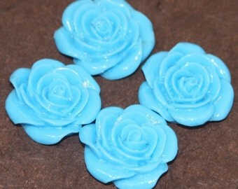 10 pcs of Acrylic  flower Cabochons  Blue -- 22X21mm