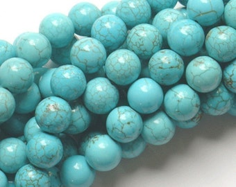 15 inch of light blue truquoise round beads, synthetic turquois round beads, Turquoise beads strand 8mmround beads