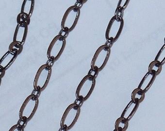 10ft Gunmetal chain Flattened Long and short chian 2X4mm