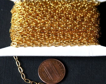 Special Sale 32ft spool of Gold plated Long and Short chain 4X2mm -soldered links