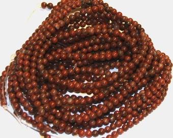 2x16 inch strand of Red sesame Jasper round 4mm