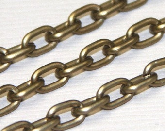 15 ft of Aluminum Light Weight chain 7X4.2 mm - Antiqued gold - Open LInks