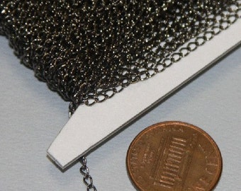 Special Sale 32 ft spool of Gunmetal plated Brass curb Chain 1.8X2.8mm - Soldered Links