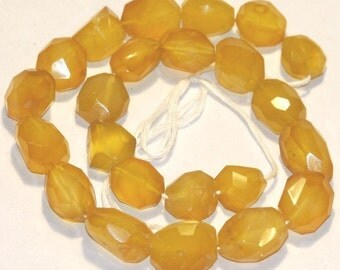16 inch strand of Yellow agate faceted nuggets 13X18 - 15X22mm