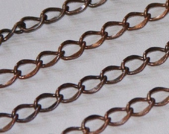5 ft of Antiqued Copper hammered soldered chain 5x6.5mm brass coated iron chain