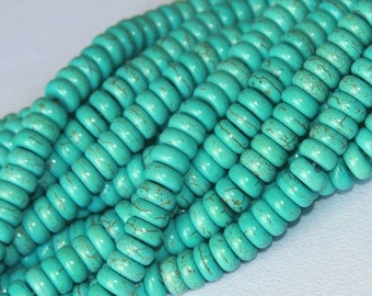15 inch strand of Light green Howlite Turquoise rondelle 4X8mm