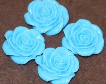 Wholesale 100 pcs of Acrylic  flower Cabochons - Turquoise Blue -- 22X21mm