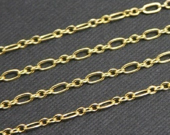 10ft  of Gold plated (three  and one) Long and Short chain 4.5X2.5mm -soldered links