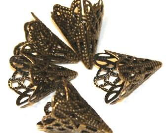 15 pcs of Antiqued brass filigree cone bead cap 20X17mm (NF)