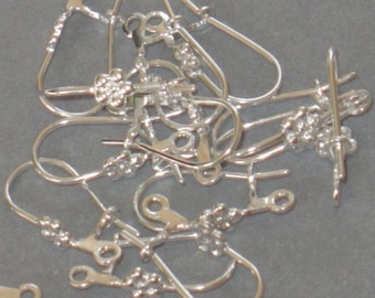 100 pcs of silver plated kidney earwire - flower with loop 20X8mm