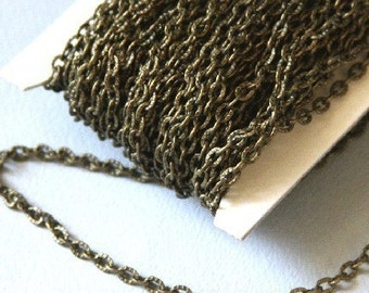 45 ft of Antiqued Brass finished high quality iron texture cable chain 2X3mm - unsoldered