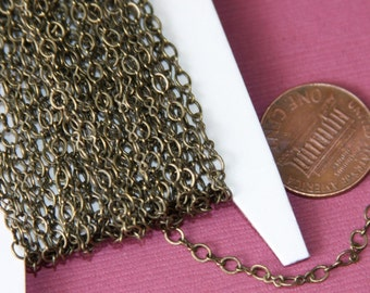 32 ft spool of Antiqued Brass Chain Figure 8 Connector Chain 2.9X 3.3mm links