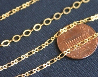 10 ft of Gold Plated Figure 8 Connector Chain 2.9X 3.3mm links, gold chain, brass chain